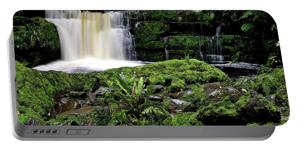 Water Portable Battery Charger featuring the digital art Mclean Falls In Southland New Zealand by Mark Duffy