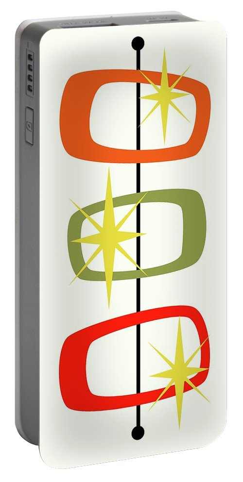 Mid Century Modern Portable Battery Charger featuring the digital art Mcm Shapes 1 by Donna Mibus