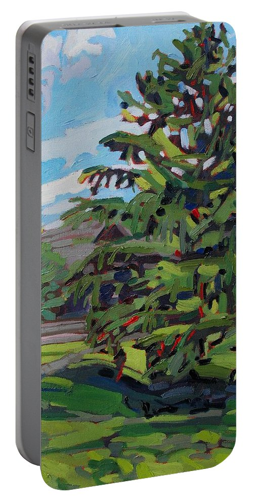 913 Portable Battery Charger featuring the painting Mcmichael Spruce by Phil Chadwick