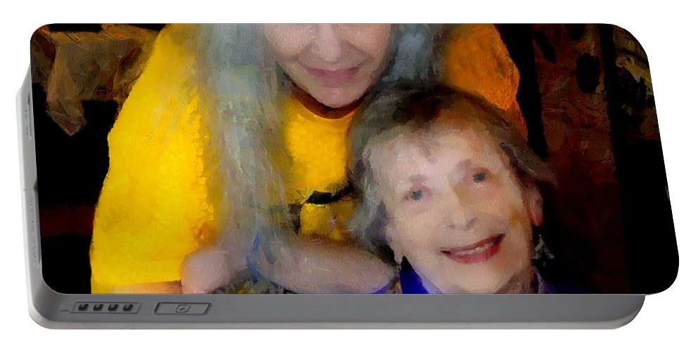 Colorful Portable Battery Charger featuring the painting Me And B by RC DeWinter