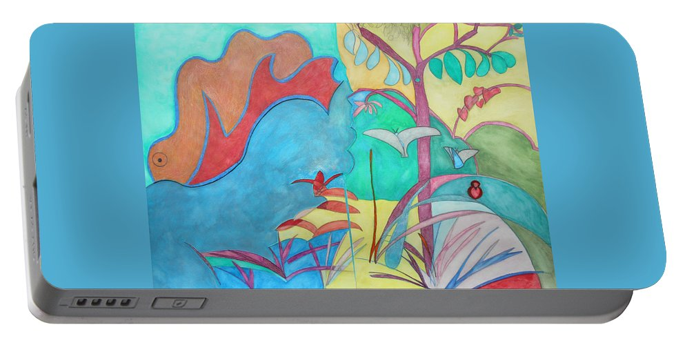 Watercolor Gouache Expressionist Expressionism Painting Paintings Color Multicolored Whimsical Butterflies Nature Innocence Paradise Collage Portable Battery Charger featuring the painting Me-bird In Paradise by Laura Joan Levine