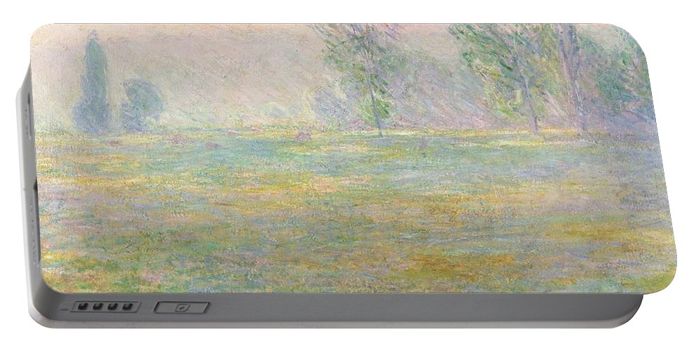 Meadows In Giverny Portable Battery Charger featuring the painting Meadows In Giverny by Claude Monet