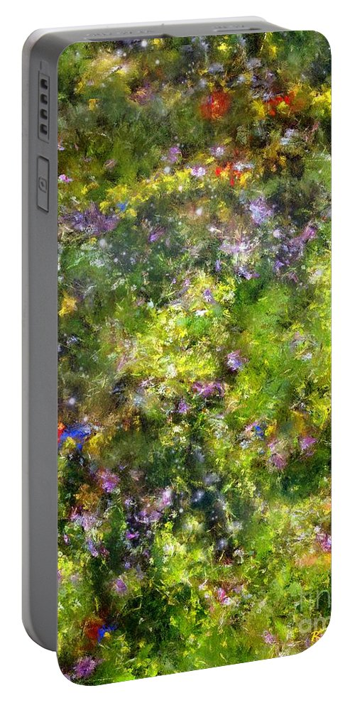 Meadow Portable Battery Charger featuring the painting Meadowstars In Manx by RC DeWinter