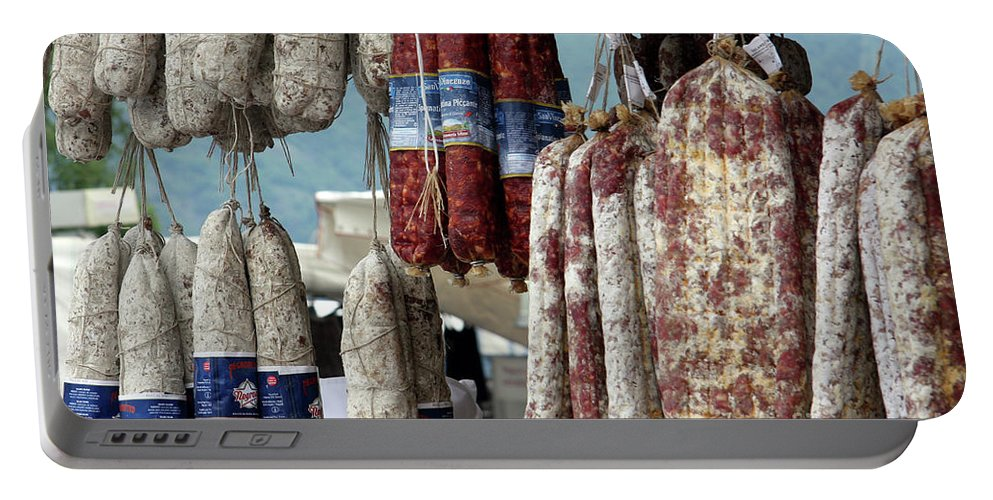 Italy Portable Battery Charger featuring the photograph Meats And Sausages by Amos Dor