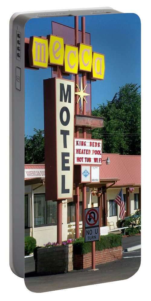 Vintage Motel Signs Portable Battery Charger featuring the photograph Mecca Motel by Anita Burgermeister