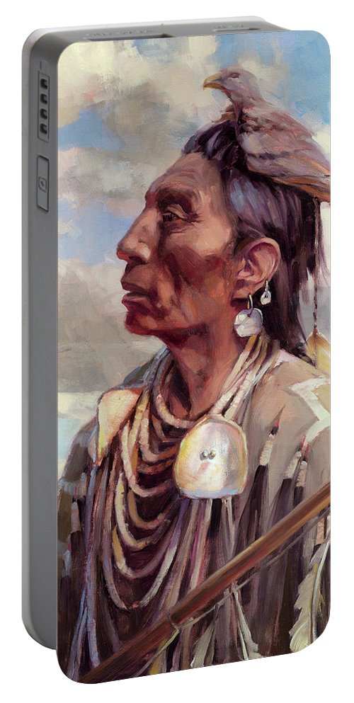 Native American Portable Battery Charger featuring the painting Medicine Crow by Steve Henderson