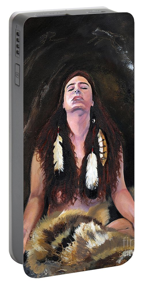 Southwest Art Portable Battery Charger featuring the painting Medicine Woman by J W Baker