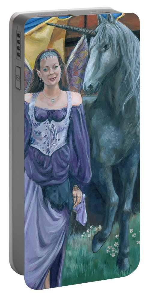 Fairy Faerie Unicorn Dragon Renaissance Festival Portable Battery Charger featuring the painting Medieval Fantasy by Bryan Bustard