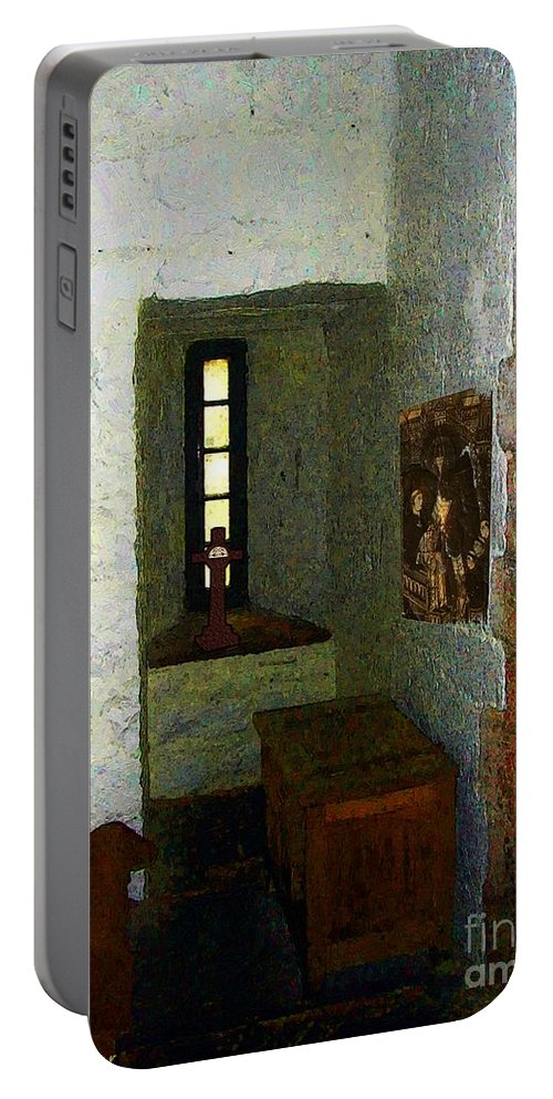 Medieval Portable Battery Charger featuring the painting Medieval Monastic Cell by RC DeWinter