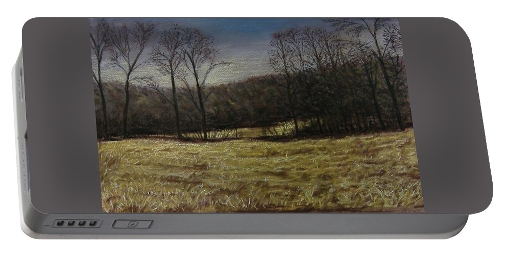 Landscape Portable Battery Charger featuring the pastel Medina Cornfield by Pat Snook