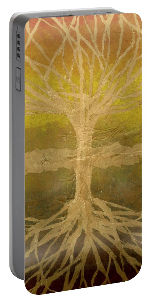Abstract Portable Battery Charger featuring the painting Meditation by Leah Tomaino