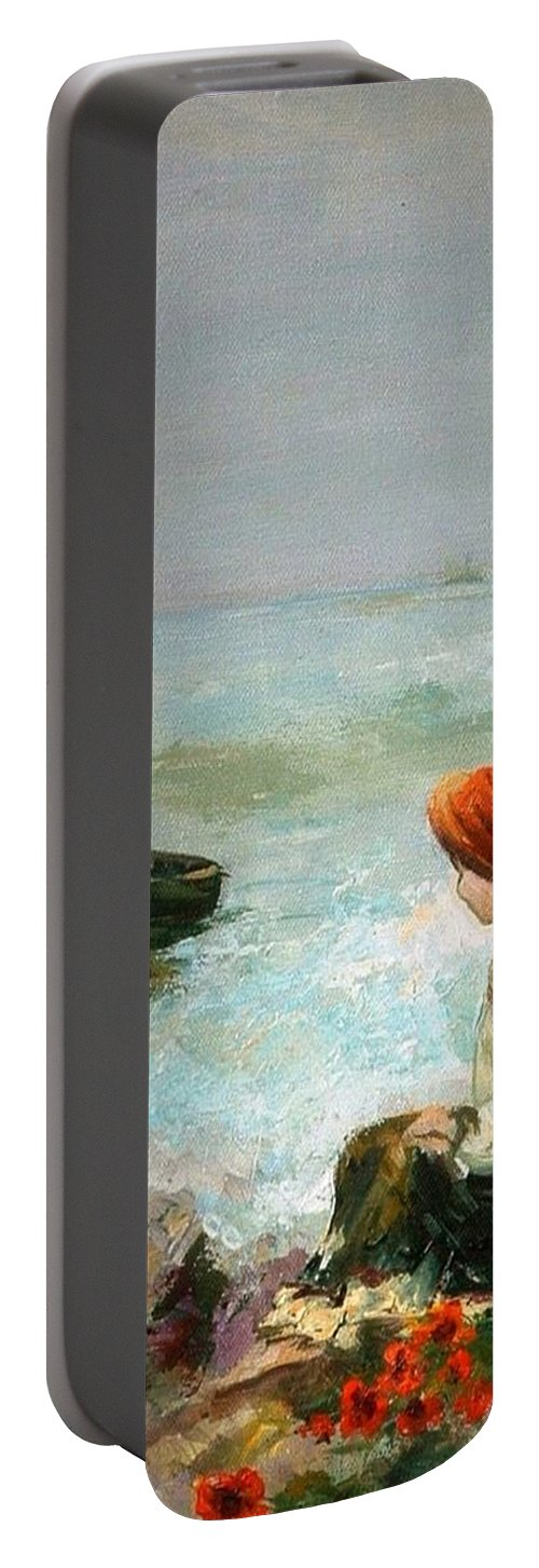 Meditation Portable Battery Charger featuring the painting Meditation No. 1 by Elisabeta Hermann