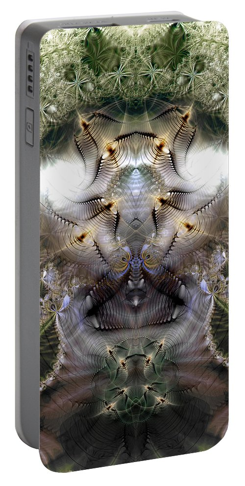 Abstract Portable Battery Charger featuring the digital art Meditative Symmetry 5 by Casey Kotas