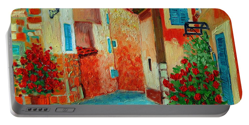 Mediterranean Portable Battery Charger featuring the painting Mediterranean Street by Ana Maria Edulescu