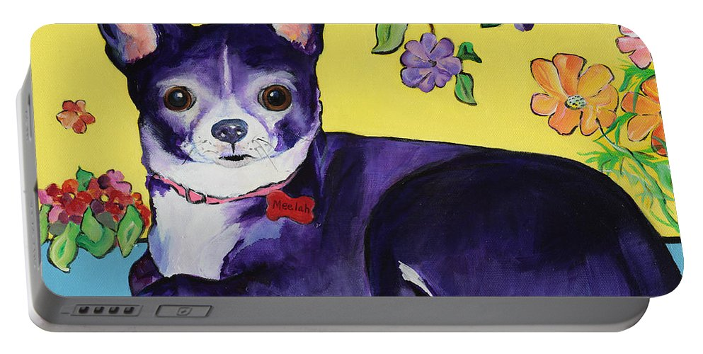 Portable Battery Charger featuring the painting Meelah by Pat Saunders-White