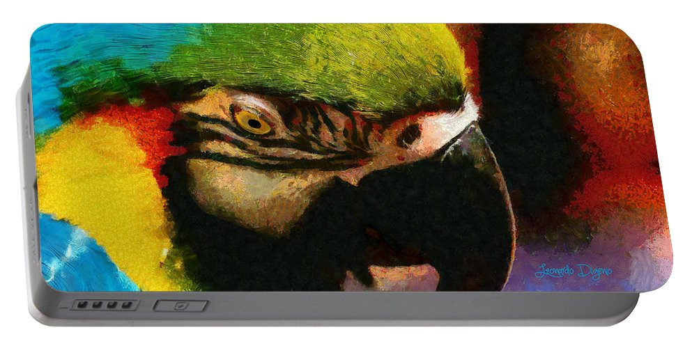 Animal Portable Battery Charger featuring the painting Meet The Brazilian Arara by Leonardo Digenio