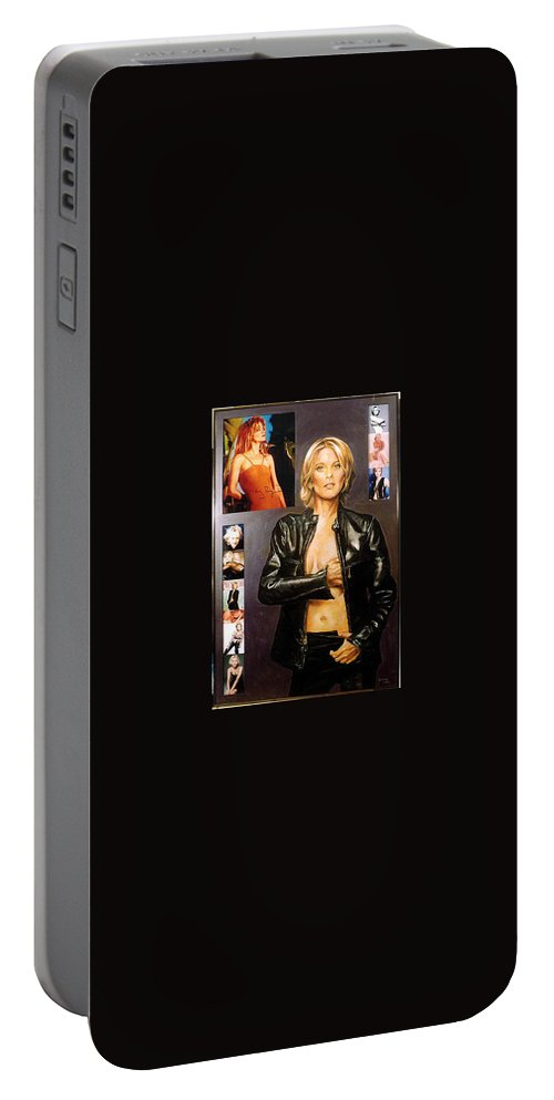Meg Ryan Portable Battery Charger featuring the painting Meg Ryan by Bryan Bustard