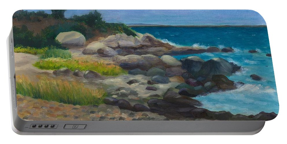 Landscape Portable Battery Charger featuring the painting Meigs Point by Paula Emery