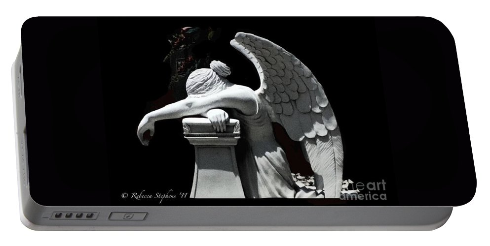 Angel Portable Battery Charger featuring the photograph Melancholic Angel by Rebecca Stephens