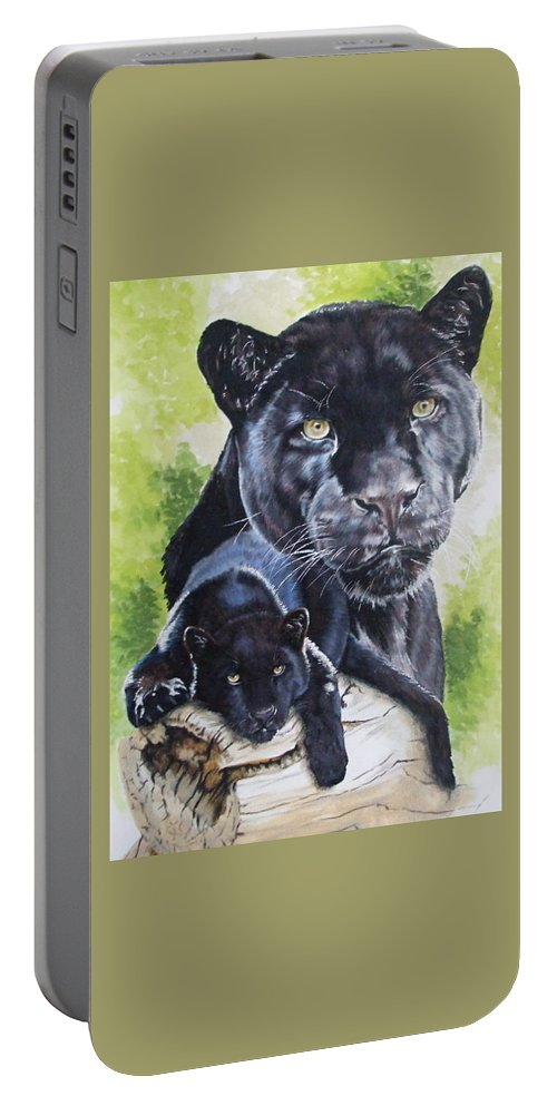 Big Cat Portable Battery Charger featuring the mixed media Melancholy by Barbara Keith