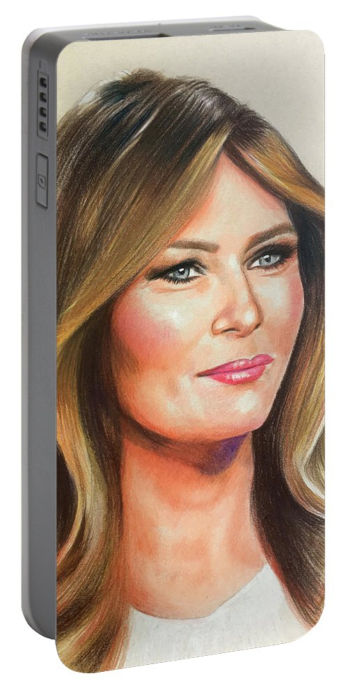 Acrylic Stylized Graphic Pastel Realism Fashion Watercolor Charcoal Figurative Corporate Editorial People Book Covers Icons Family Portrait Trump Melania Patriotic President Politics Tower Real Estate Art Of The Deal Forbes Million Billion Primary Constitution Make America Great Again Media Business Trade Deal Social Foreign Domestic Israel Prisoner Swap Wall Taxes Governmentposters Travel Celebrities Product Feminine Leisure Vintage Retro Web Children Lifestyle Colored Pencil Portable Battery Charger featuring the drawing Melania Trump by Robert Korhonen