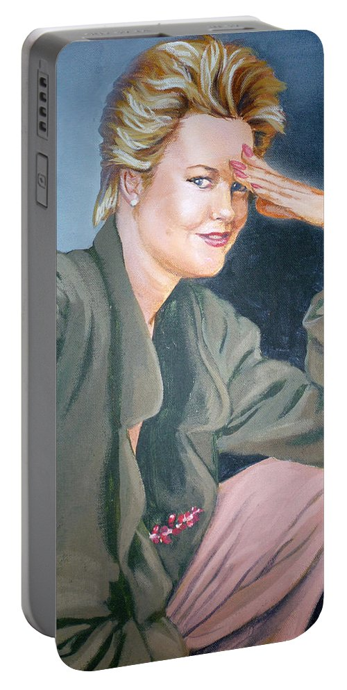 Melanie Griffith Portable Battery Charger featuring the painting Melanie Griffith by Bryan Bustard