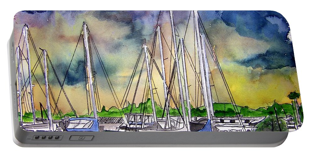 Boat Portable Battery Charger featuring the digital art Melbourne Florida Marina by Derek Mccrea