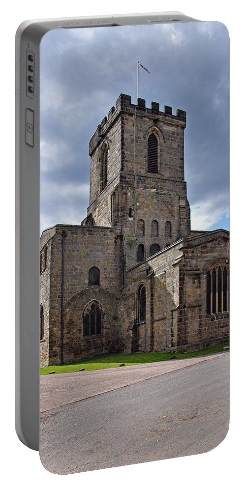 Shadow Portable Battery Charger featuring the photograph Melbourne Parish Church In Derbyshire by Rod Johnson