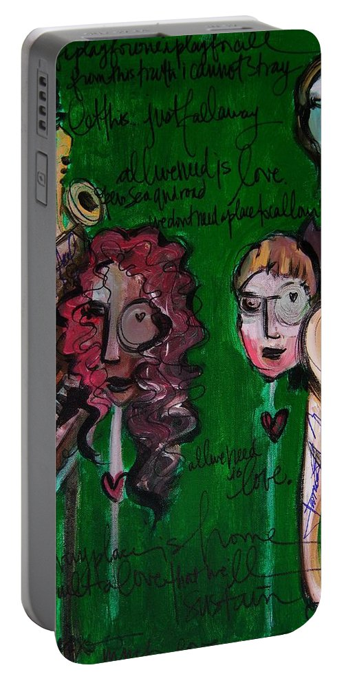 Melissa Axel Music Portable Battery Charger featuring the painting Melissa Axel At Swallow Hill by Laurie Maves ART