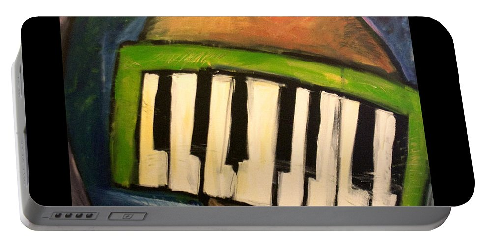 Funny Portable Battery Charger featuring the painting Melodica Mouth by Tim Nyberg
