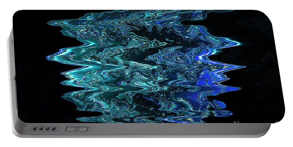 Abstract Portable Battery Charger featuring the digital art Melting Blue Ice by Elisabeth Lucas