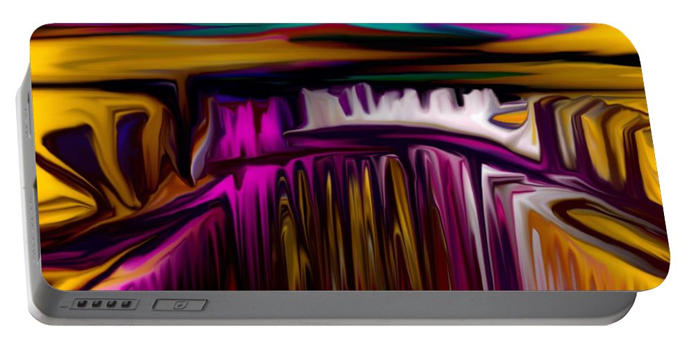 Abstract Portable Battery Charger featuring the digital art Melting by David Lane