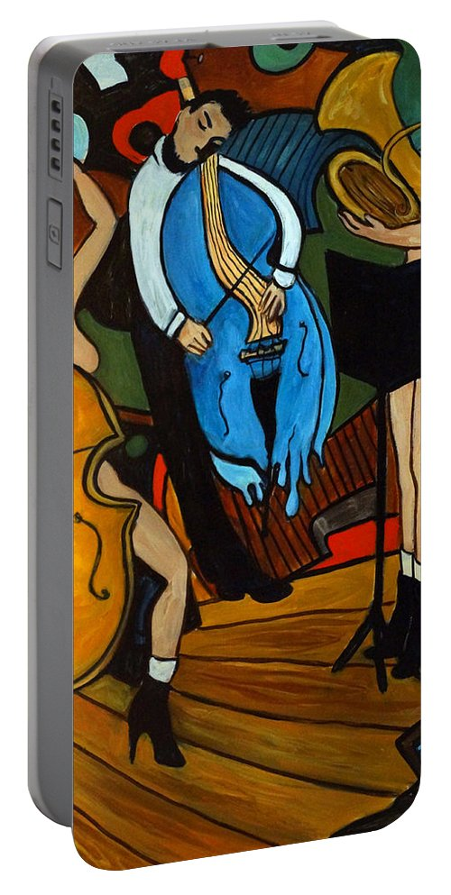 Musician Abstract Portable Battery Charger featuring the painting Melting Jazz by Valerie Vescovi
