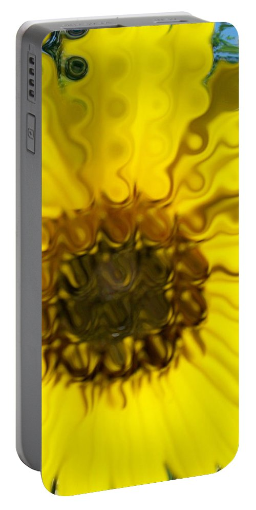 Yellow Prints Portable Battery Charger featuring the photograph Melting Sunflower by Laurette Escobar