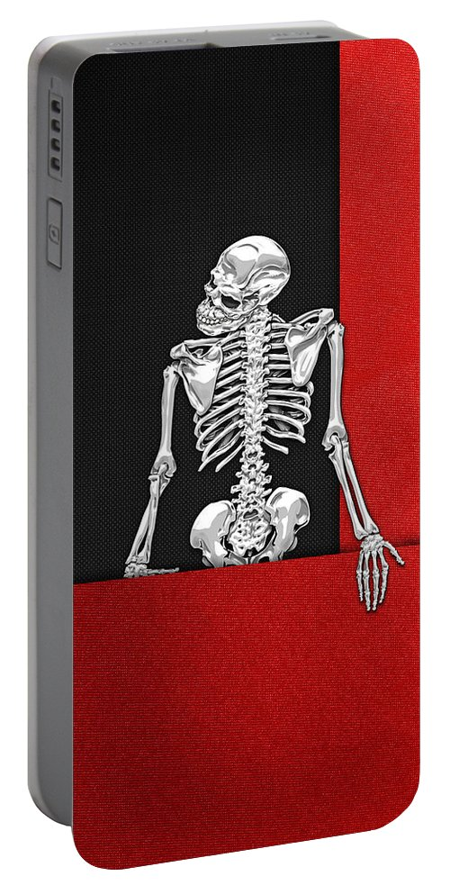 Visual Art Pop By Serge Averbukh Portable Battery Charger featuring the photograph Memento Mori - Skeleton on Red and Black by Serge Averbukh