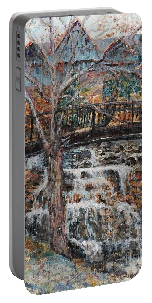 Waterfalls Portable Battery Charger featuring the painting Memories by Nadine Rippelmeyer