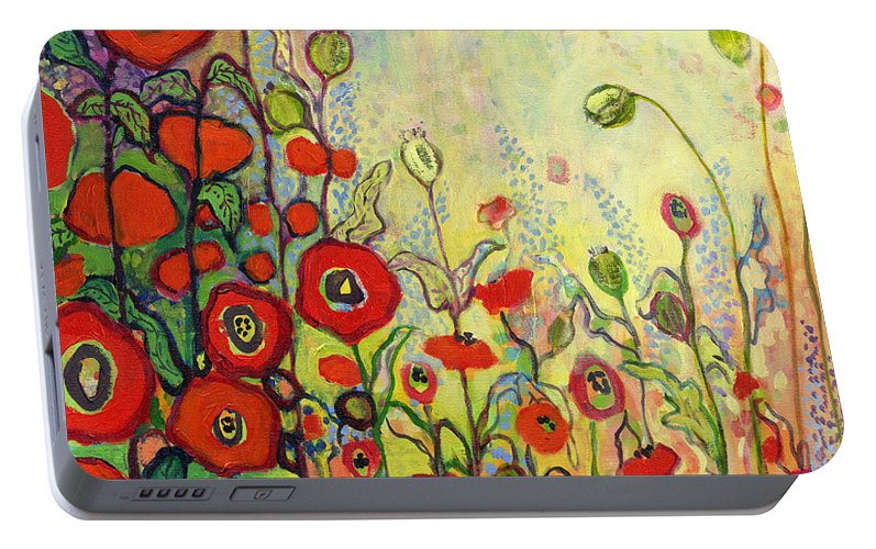 Poppy Portable Battery Charger featuring the painting Memories Of Grandmother's Garden by Jennifer Lommers