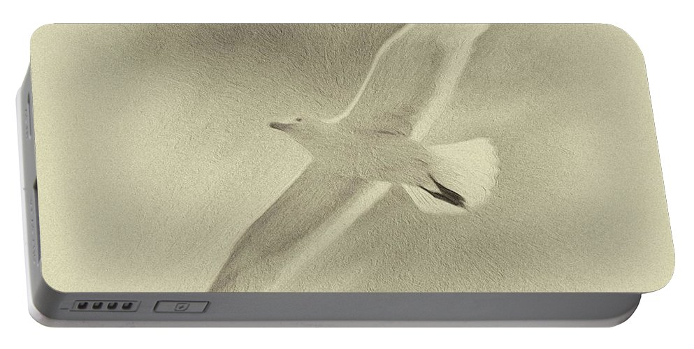 Seagull Flying High In The Sky Portable Battery Charger featuring the painting Memories Of Light II by Marko Stojanovic