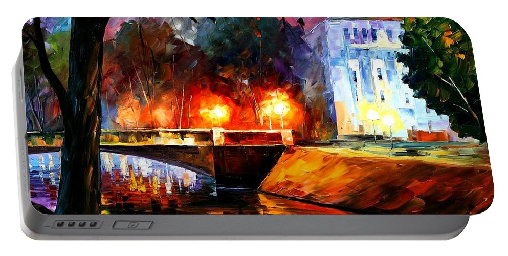Afremov Portable Battery Charger featuring the painting Memories Of The First Love by Leonid Afremov