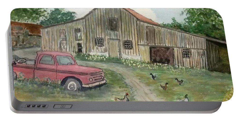 Barn Portable Battery Charger featuring the painting Memories by Robert Barrow