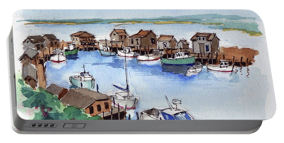 Marine Portable Battery Charger featuring the painting Menemsha Safe Haven by John Crowther
