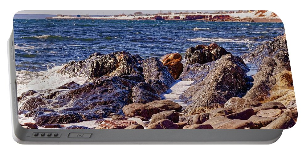 Portable Battery Charger featuring the photograph Mer2 by Marc Thibault