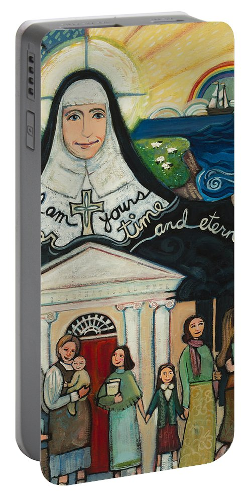 Jen Norton Portable Battery Charger featuring the painting Mercy Foundress Catherine Mcauley by Jen Norton