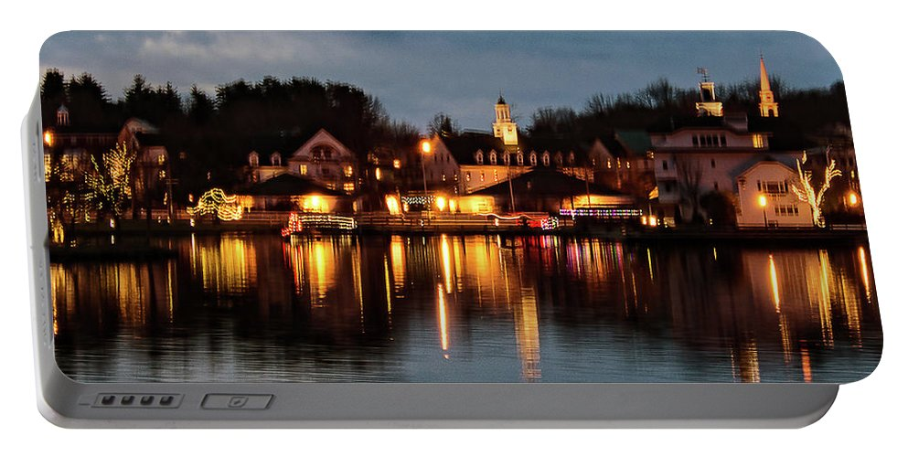Meredith Portable Battery Charger featuring the photograph Meredith Bay On Christmas Night by Mim White