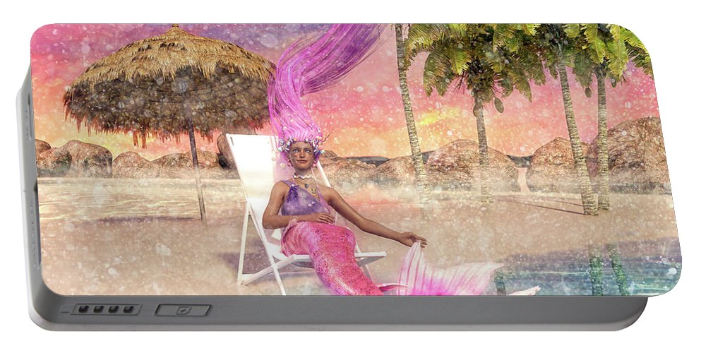 Mermaid Portable Battery Charger featuring the digital art Mermaid By The Sea by Betsy Knapp