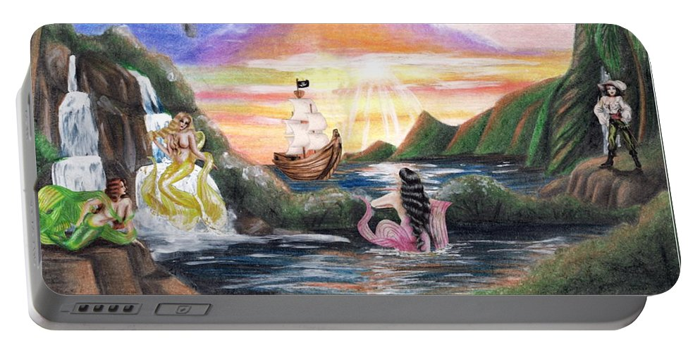 Collage Portable Battery Charger featuring the drawing Mermaid Lagoon by Scarlett Royal