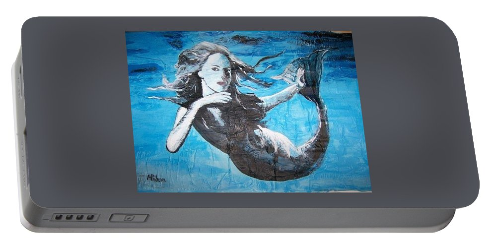 Mermaid Portable Battery Charger featuring the painting Mermaid Life by Midia Hadjixenofontos