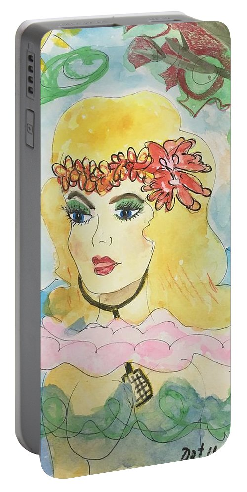 Mermaid Portable Battery Charger featuring the painting Mermaid With Music by Dorothy Ruth Phelps