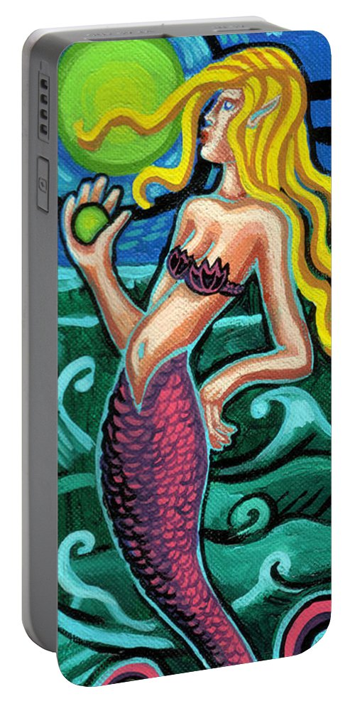 Mermaid With Pearl. Deep Blue Ocean Portable Battery Charger featuring the painting Mermaid With Pearl by Genevieve Esson