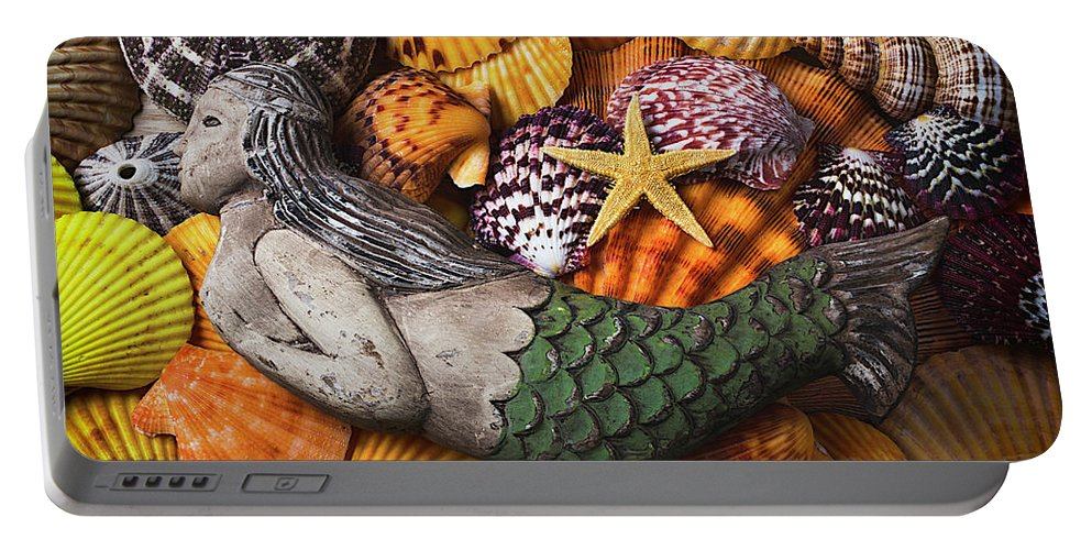 Wooden Mermaid Portable Battery Charger featuring the photograph Mermaid With Starfish by Garry Gay